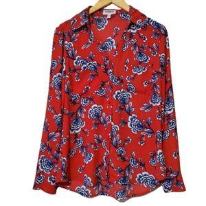 Express The Portfolio Shirt - Red/Floral NWOT